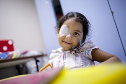 Priscilla, (4 yrs) suffers from congenital bilateral cataracts inherited from her mother. After successful surgery on her right eye she is now waiting for an operation on her left.