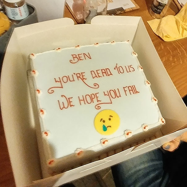 hilarious farewell cakes that employees received when