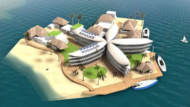 A computer generated image of the proposed floating platform in French Polynesia.