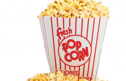 A bag of fresh popcorn.