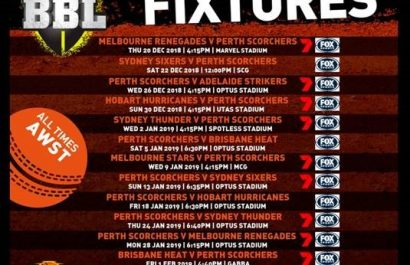 Perth Scorchers big bash 2018-2019 season fixtures