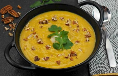 The Joyful Table recipe for spiced sweet potato soup with pecans by sue joy.
