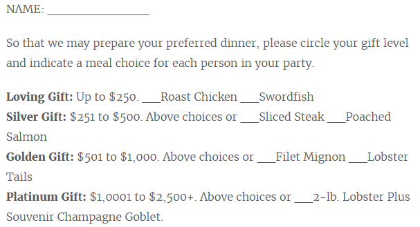 "wedding invite asks guests to spend more to ""earn"" a better meal"