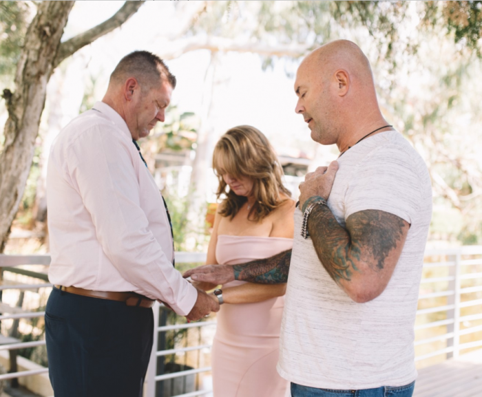 Jacob and Heidi renewing their wedding vows at a ceremony that took place one year free from a life of addition.